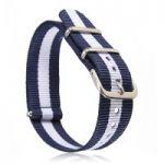 Natoband – Uhrenarmband Nylon – Nato Armband, Navyblau – Weiss – Navyblau, Militärband 18 mm