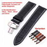 Lederband mit Faltschließe in Edelstahl - Schwarz mit weißer Steppnaht 18 - 22 mm