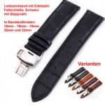 Lederband mit Faltschließe in Edelstahl - Schwarz mit Steppnaht 16 - 22 mm