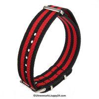 Natoband – Uhrenarmband Nylon – Nato Armband, Schwarz – Rot, Militärarmband 20 mm