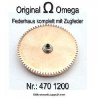 Omega Federhaus komplett mit Federwelle und Zugfeder Part Nr. Omega 470 1200 Cal.  470 471 490 491 500 501 502 503 504 505