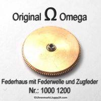 Omega Federhaus komplett mit Federwelle und Zugfeder Part Nr. Omega 1000-1200 Cal. 1000 1001 1002