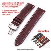 Lederband mit Faltschließe in Edelstahl - Dunkelbraun mit weißer Steppnaht 18 - 22 mm