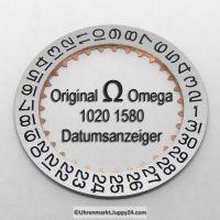 Omega Datumanzeiger Neuware (Datumsscheibe - Datumsring) Silberfarben mit schwarzen Ziffern Part Nr. Omega 1020-1580 Cal. 1020 1021 1022