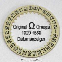 Omega Datumanzeiger Omega 1020-1580 mit schwarzen Ziffern (Datumsscheibe - Datumsring) Omega 1020 1580 Cal. 1020 1021 1022 (NR 02)