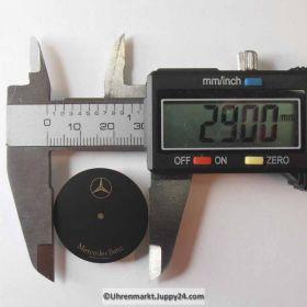 Zifferblatt für Mercedes Sportuhr, SCHWARZ MATT 29mm Durchmesser. (Mercedes sport dial) NOS