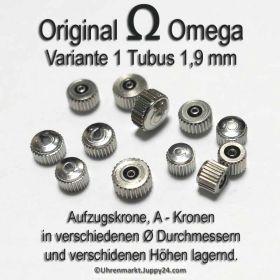Original Omega Kronen Edelstahl, Omega Krone für Tubus 1,9 mm in verschiedenen Varianten und Durchmessern