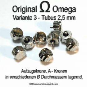 Original Omega Kronen Edelstahl, Omega Krone für Tubus 2,5 mm in verschiedenen Varianten und Durchmessern