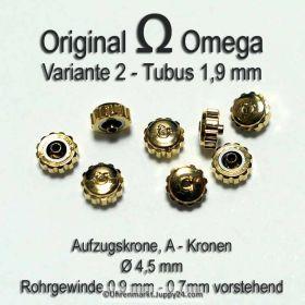 Original Omega Kronen vergoldet, Omega Krone für Tubus 1,9 mm in verschiedenen Varianten und Durchmessern
