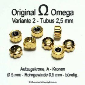 Original Omega Kronen vergoldet, Omega Krone für Tubus 2,5 mm in verschiedenen Varianten und Durchmessern