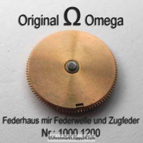 Omega Federhaus komplett Omega 1000-1200 mit Federwelle und Zugfeder Cal. 1000 1001 1002