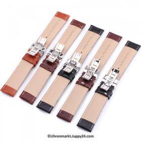 Lederband mit Faltschließe in Edelstahl - Dunkelbraun mit Steppnaht 16 - 22 mm