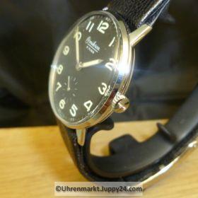 Omikron Handaufzug Stahl Gehäuse Lederband mit Faltschließe deutliches Zifferblatt sehr guter Zustand