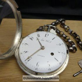 Große Silber Spindeltaschenuhr John Ward Schlüsselaufzug ca. 1815 London mit Kette und Schlüssel funktioniert