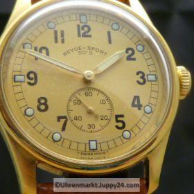 Revue Thommen 50´s limited edition 124/999 Handaufzug vergoldet, kleine Sekunde 33mm