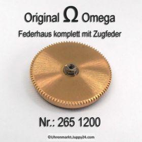 Omega Federhaus komplett mit Federwelle und Zugfeder Part Nr. Omega 265-1200 Cal. 265 266 267 283 284 285
