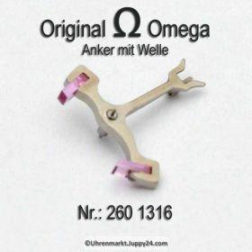 Omega 260-1316 Anker mit Welle, Omega 260 1316 Cal. 30 30T1 30T2 30T2PC 260 261 265 266 267 268 269 283 284 285 286