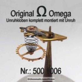 Omega Unruhkloben komplett, Omega 500-1006  mit Unruh Welle Incabloc und Schwanenhals Feinregulierung Cal. 500 501 502 503 504 505