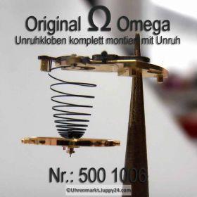 Omega Unruh komplett, Omega 550-1327 & Omega 500-1006. Omega Unruh montiert auf Kloben. Cal. 500 501 502 503 504 505