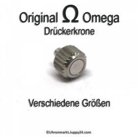 Original Omega Krone mit Drücker, Omega Drückerkrone Edelstahl für Quatzuhren, Omega Drücker Krone