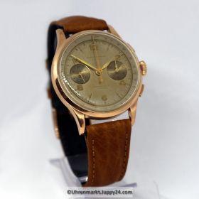 Mechanischer Schweizer Chronograph 1950 Handaufzug 18 Karat Roségold- Gehäuse.