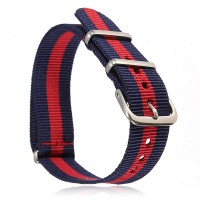 Natoband – Uhrenarmband Nylon – Nato Armband, Navyblau – Rot – Navyblau, Militärarmband 18 mm