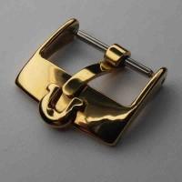 Omega Dornschließe vergoldet, NOS. Omega Schnalle, Uhrbandverschluß mit Omega Logo.