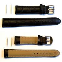 Leder Uhrenarmband - Lederband - Leder Armband schwarz 18 mm NEU zum Superpreis