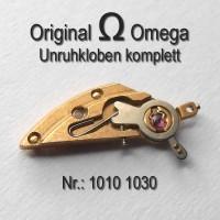 Omega Unruhkloben komplett mit Incabloc und Schwanenhalsregulage Part Nr. Omega 1010-1030 Cal. 1010 1011 1012 1020 1021 1022 1030 1035