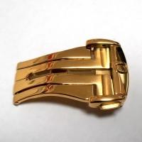 Omega Faltschließe Edelstahl vergoldet, NOS. Omega Schnalle, Uhrbandverschluß mit Omega Logo, Omega Buckle.