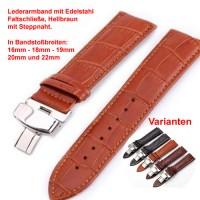 Lederband mit Faltschließe in Edelstahl - Hellbraun mit Stepnaht 16 - 22 mm