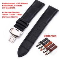 Lederband mit Faltschließe in Edelstahl - Schwarz mit Stepnaht 16 - 22 mm