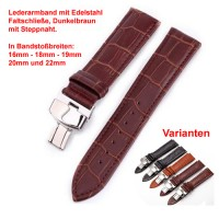 Lederband mit Faltschließe in Edelstahl - Dunkelbraun mit Stepnaht 16 - 22 mm