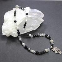 Mineralkette aus Bergkristall, Onyx, Hämatit und böhmischen Glasschliffperlen (Unikat) 45 cm lang (ohne Anhänger